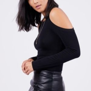 Cold Shoulder Sweater Black Small Fitted Formal